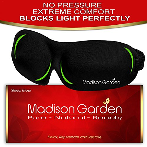 Sleep Mask by MADISON GARDEN - Eye Mask for Sleeping Deeper, Contoured & Adjustable Strap Eyemask, Silk Blindfold with Ear Plugs Travel Pouch, Men Women Kids, Insomnia Aid Light Blocking Eyeshade (Ice Car Wash compare prices)