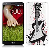 LG G2 Hard Plastic (PC) Case - White Cover with Black, Red, White Guitar Design