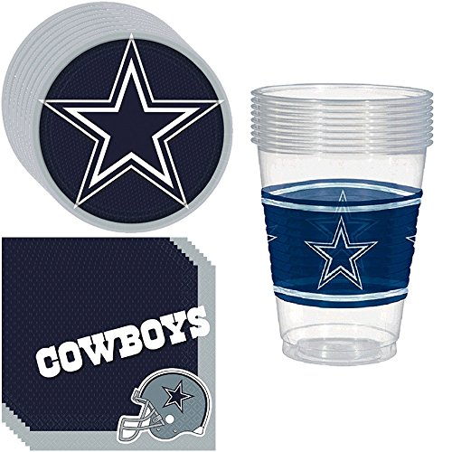Dallas Cowboys Party Pack Including Plates, Cups and Napkins - 8 Guests