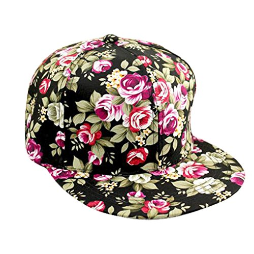 Long Retro Hip Hop Rose Floral Colorful Print Snapback Baseball Hat Cap