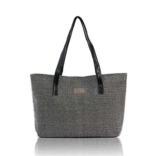 Longra Le donne di moda Canvas Handbag Shoulder Bags Shopping Lino Totes Casual (Nero)