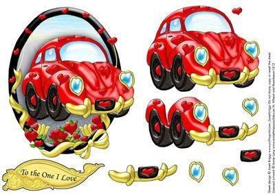 THE LOVE MOBILE KFZ Auto topper decoupage von Briggs und Janet
