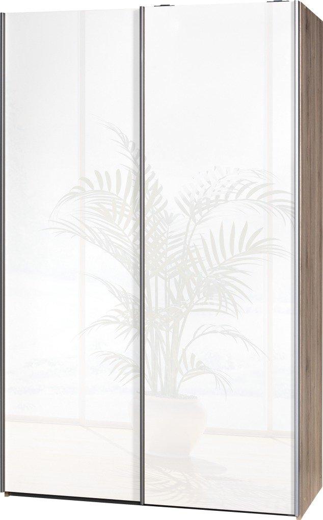 Schwebetürenschrank Soft Plus Smart Typ 42″, 120 x 194 x 61cm, Sanremo hell/2 x Weiß hochglanz