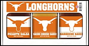 Texas Longhorns Ncaa Triple Play Gift Set 16oz Bbq Sauce 16oz Picante Salsa 16oz Cheeze Dip by Hot Sauce Harrys