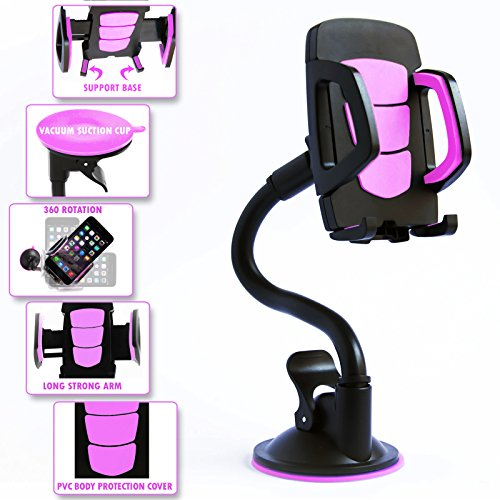 Long Arm Car Mount Cell Phone Holder With 360 Degree Rotation. Strong Flexible and Bendy Adjustable Neck With Adhesive sticky Suction Cup For Windshield. Pink Car Mobile Phone Accessory For Any Device (Car Accessories Windshield compare prices)
