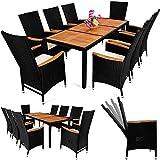 PolyRattan Sitzgruppe 8+1 neigbaren Rückenlehnen Tisch aus Akazienholz Gartenmöbel Gartenset