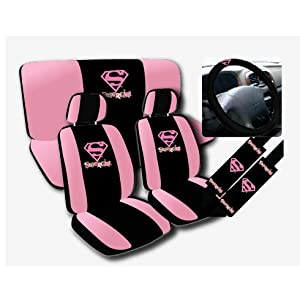 11pc Supergirl Super Girl Pink Logo Low Back Seat Covers with Head Rest Covers, Bench Cover and Steering Wheel Cover with Shoulder Pads Licensed and Rare Product