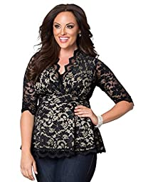 Kiyonna Women\'s Plus Size Linden Lace Top 2x Black Lace Nude Lining
