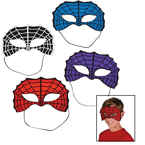 Spider Masks (12 Pack) Purple, Red, Blue and Black/white
