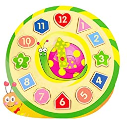 Children\'s Educational Toy With Cartoon Snail Pattern Digital Geometry Clock Baby