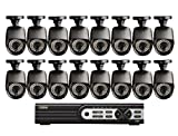 Q-See QT5716-16E3-1 16 Channel 960H DVR with 16 High-Resolution 700TVL/960H Cameras and Pre-Installed 1 TB Hard Drive (Black)