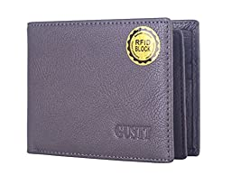 GUSTT® Top Rated RFID Blocking Secure Genuine Leather Passcase Bifold/Trifold Wallets (GC-gray)
