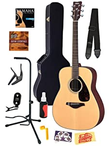 Yamaha FG700S Folk Acoustic Guitar Bundle with Hard Case, Strap, Stand, Polish, Tuner, Strings, Picks, Capo, String Winder, and Instructional DVD - Natural from Yamaha