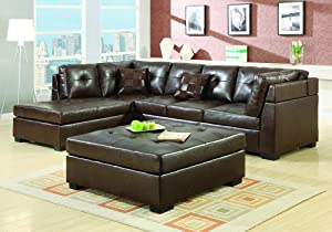 Sectional Sofa Brown Leather Ottoman Button Tufted Chaise