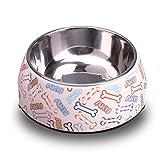 HOOPET ペット用食器 犬用 猫用 軽い ステンレス製ペット皿 骨模様 給水器 食器 皿 デザイン ウォーターボウル 食事 ボウル グルメ ドッグ キャット 動物 給餌 L サイズ
