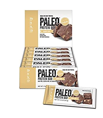 Paleo Protein Bars Almond Fudge 12 Bars (20g Protein) w/Prebiotics 1 Net Carb