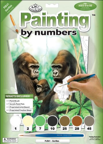 Royal & Langnickel Painting by Numbers Junior Small Art Activity Kit, Gorillas