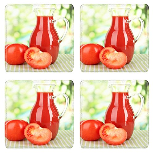 MSD Square Coasters IMAGE ID 19510790 Tomato juice in pitcher on table on bright background (Tomato Juice Pitcher compare prices)