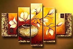 Wieco Art - Large Size Golden Bottle Elegent Flowers 100% Hand-painted Modern Canvas Wall Art Floral Oil Paintings on Canvas 5pcs/set III