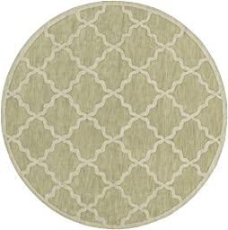 Green Rug French Country 7-Foot 9-Inch Round Wool Handmade Trellis