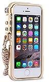 iPhone5sケース、iPhone5ケース、iPhone SEケース カバー、【RZS】[スクラッチ保護] [ドロップ保護] [耐震] メカニカルアームシェイプ保護金属シェル[ネックストラップ付き] 航空宇宙アルミニウムアイフォン5s/SE/5用 耐衝撃カバー (iPhone 5/5s/SE, シャンパンゴールド)