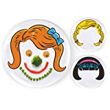 Dinner Dos Kids Dinnerware Plates Food Faces-Set of 3-Girls Style