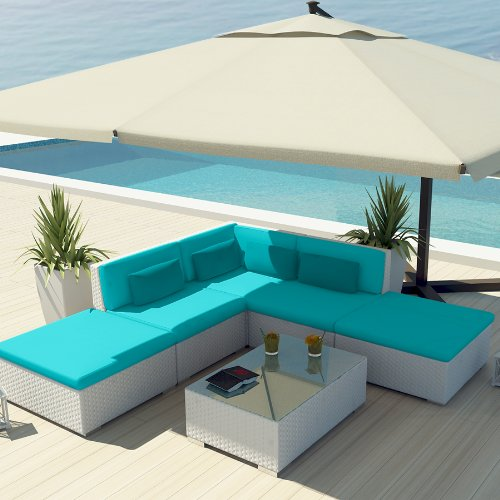 Uduka Outdoor Sectional Patio Furniture White Wicker Sofa Set Porto 6 Turquoi