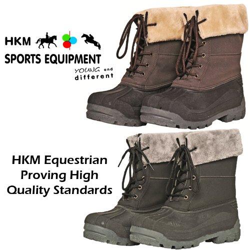 Ladies Black Brown Hkm Waterproof Sole Faux Fur Winter Yard Snow Rain Wellington Mucker Boots Size UK 3-8