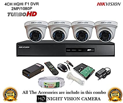 Hikvision-DS-7204HQHI-E1-4CH-Dvr,-4(DS-2CE56DOT-IRP)-Dome-Camera-(With-Mouse,-Remote,-1TB-HDD,Cable-,-Bnc&Dc-Connectors,Power-Supply)