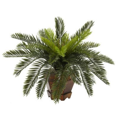 Nearly Natural Cycas w/Hexagon Vase Silk Plant