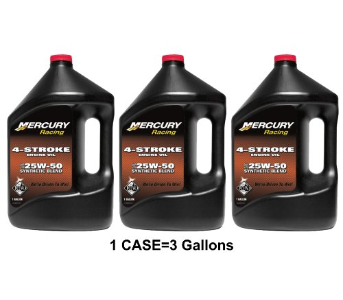 OEM Mercury Racing 4-Stroke Engine Oil SAE 25W-50 Synthetic Blend Case 3 Gallons