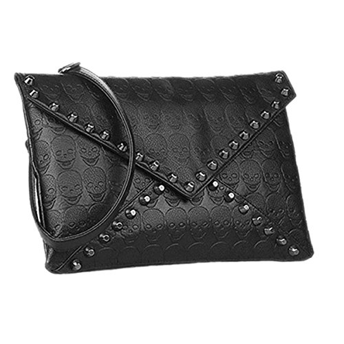 Zeagoo® Fashion Womens Pu Leather Skull Clutch Handbag Shoulder Satchel Tote Bag Black