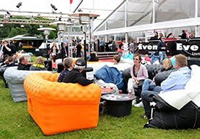 Aufblasbares Sofa orange PVC schwer entflammbar Aufblasmöbel Couch von lounges2go auf Gartenmöbel von Du und Dein Garten