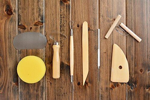 Kit per lavorare la creta/ceramica, legno e metallo, 8 strumenti (sgorbie, spugne, raschietto etc.), Mod. PTK-01