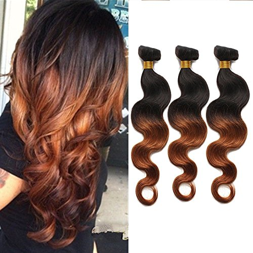 BabyFoxy-Top-Quality-Real-Brazilian-Human-Hair-Two-Tone-Ombre-Color-Hair-Weave-Weft-Weave-Extension-Body-Wave-Black-to-Reddish-Brown-Blonde-1B30-3-Bundles-121212
