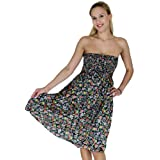 La Leela Multicolor Floral Printed Backless Halter Tube Dress