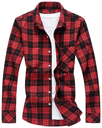Men's Long Sleeves Retro Vintage Checker Plaids Casual Dress, Shirt Red & Black, X-Large (Red And Black Hooded Flannel compare prices)
