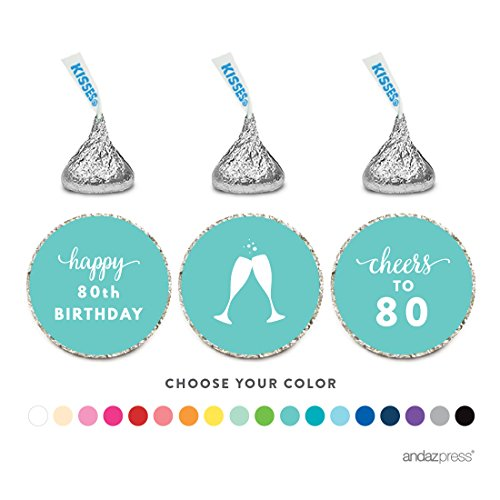 Andaz Press Chocolate Drop Labels Trio, Fits Hershey's Kisses Party Favors, 80th Birthday, 216-Pack, Choose Your Color - Party Decor and Decorations, Stickers for Stationary, Envelopes, Invitations, Thank You Notes (Personalized Elmo Gifts compare prices)