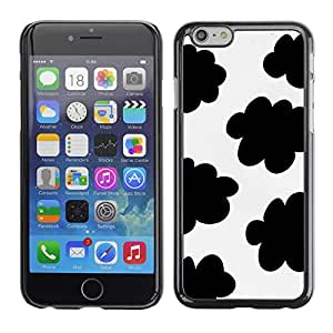 Omega Covers - Snap on Hard Back Case Cover Shell FOR Iphone 6/6S (4.7 INCH) - Spots Black White Clouds Sheep Pattern
