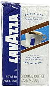 Lavazza Gran Filtro Dark Roast Ground Coffee, 8-Ounce Bags (Pack of 5)