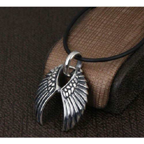 Feather Wing Cross Fine 925 Sterling Silver with Black Rhodium Plated Pendant Necklace with 18 inch Black Greek Rubber Cord