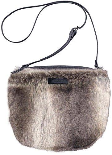 Barts-Sacco in finta pelliccia, colore: grigio, modello junior e da donna, 19 x 23 cm, colori grigio taglia unica