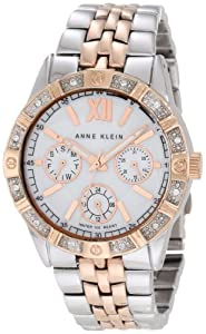 Anne Klein Women's AK/1001MPRT Swarovski Crystal Accented Rosegold-Tone And Silver-Tone Watch
