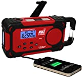 Ambient Weather WR-333-U Emergency Solar Hand Crank Weather Alert Radio Flashlight Smart Phone Charger AC and DC Adaptors