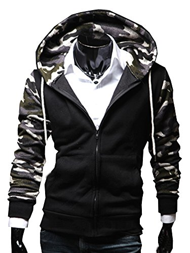 Men'S Boys Jersy Hoodie Sweatshirt Coat Sports Camouflage Jacket Kakhi front-1055139
