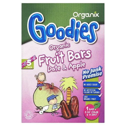 Organix Goodies Date and Apple Fruit Bar 5 x 15 g (Pack of 7, Total 35 Bars)
