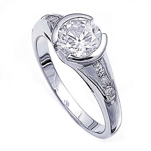 Rhodium Plated Sterling Silver Wedding & Engagement Ring Clear Cz Bezel Set Ring Mm ( Size 5 To 9) Size 7