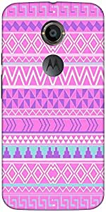 Snoogg Pink Aztec Pattern Case Cover For Moto X 2Nd Genration/4S