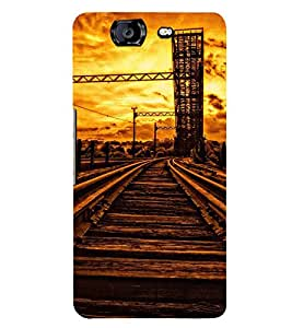 VINTAGE RAILWAY TRACK AT SUNSET 3D Hard Polycarbonate Designer Back Case Cover for Micromax Canvas Knight A350