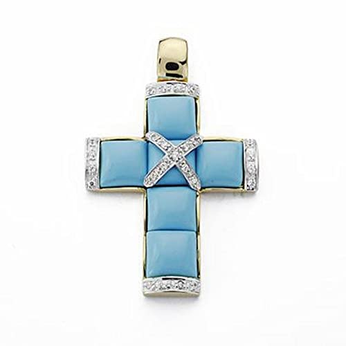 45mm turquoise 18k gold cross. zircons [AA1929]